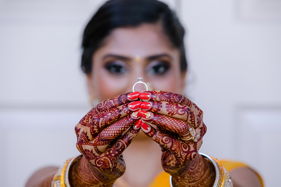 indian engagement ring with mehndi
