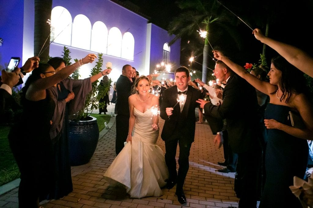 wedding sparkler exit at the mansion at tuckahoe