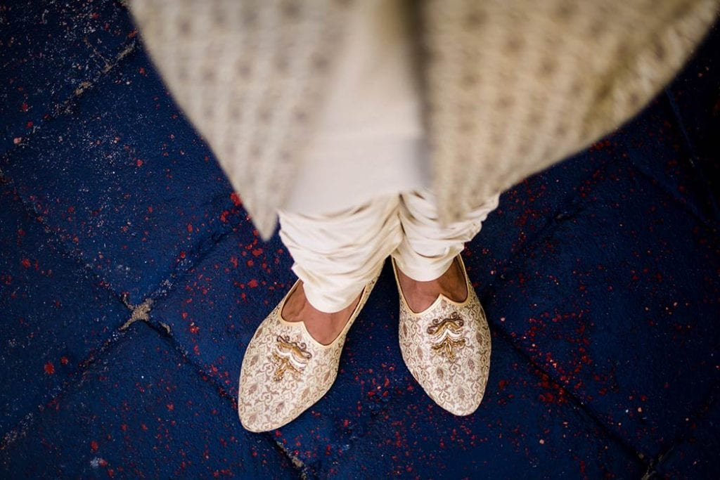south florida indian wedding grooms gold shoes
