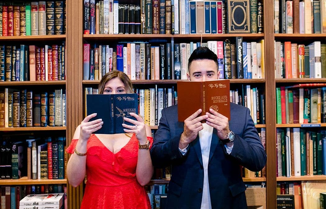 Cute Book Store Engagement Session | Old Florida Book Shop Fort Lauderdale