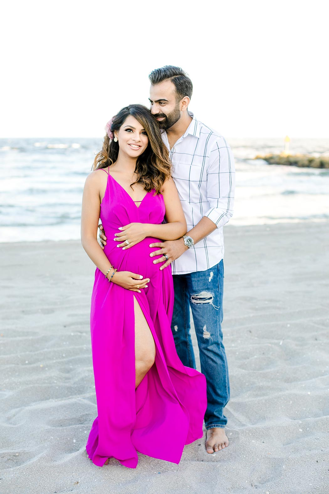 long turquoise beach maternity dress