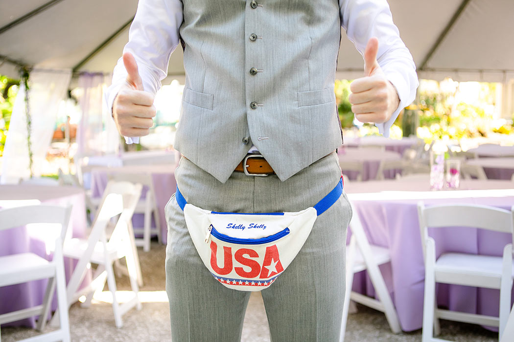grooms fanny pack | unique fanny pack for groom on wedding day | USA fanny pack