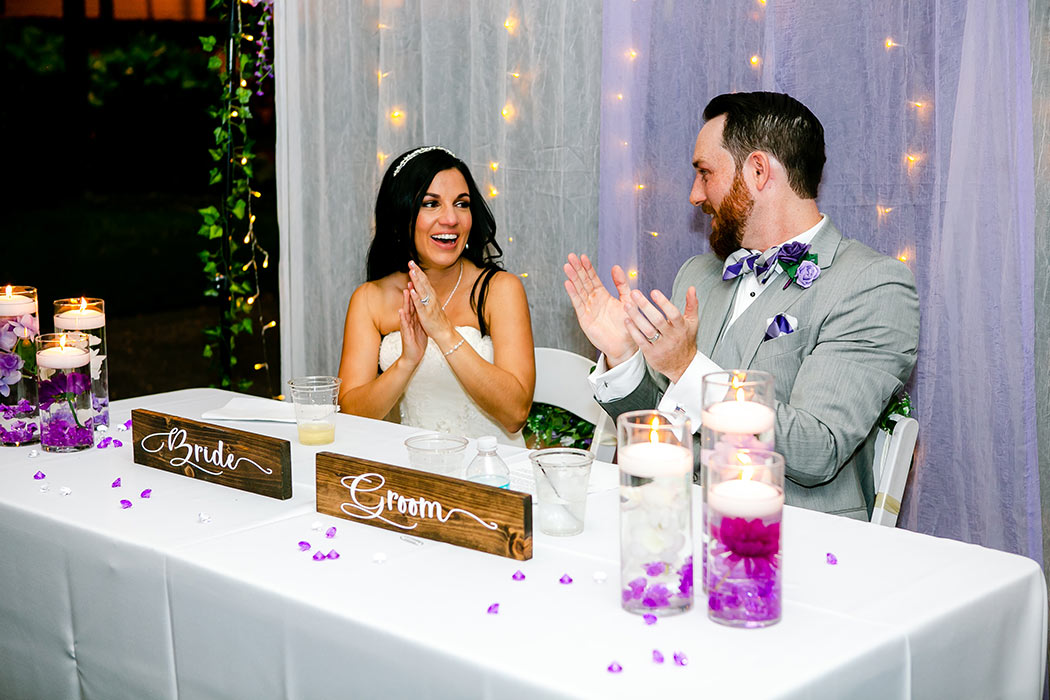 wedding reception with purple and white color | fort lauderale historical society wedding | wedding reception in fort lauderdale