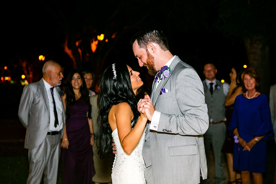 bride and groom first dance at fort lauderdale historical society wedding