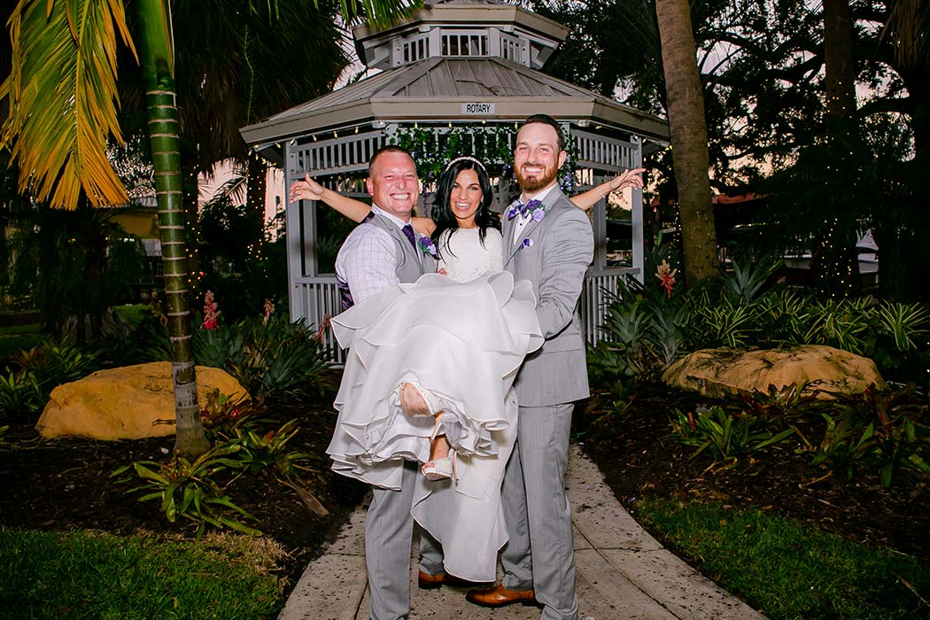 funny photo with bride, best man and groom | best man and groom lift bride | fort lauderdale historical society wedding