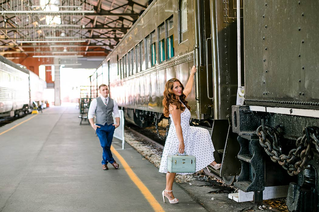 image idea for engagement session at railway | engagement photoshoot at railroad museum miami