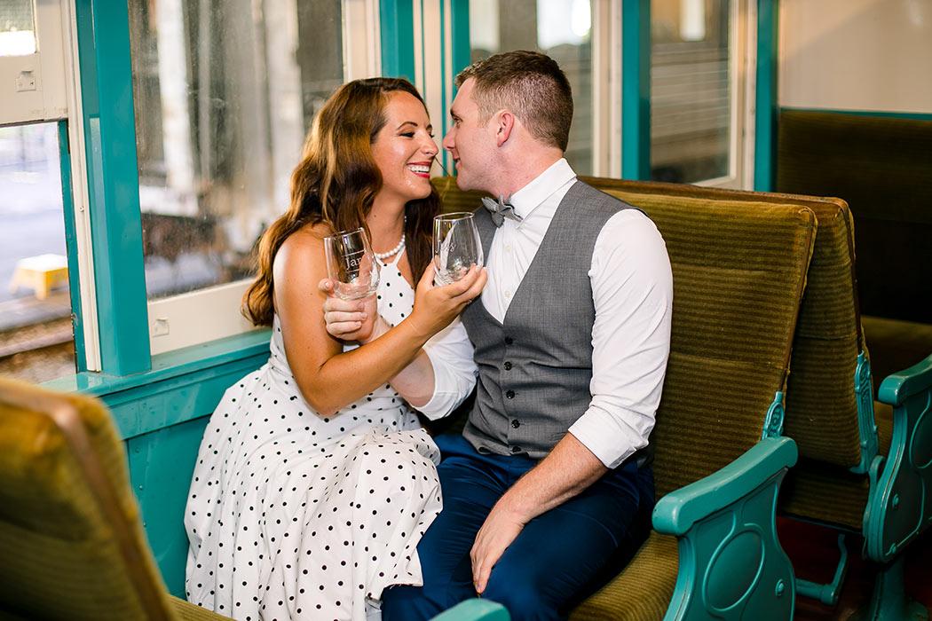image idea for toasting couple | toasting engagement on train