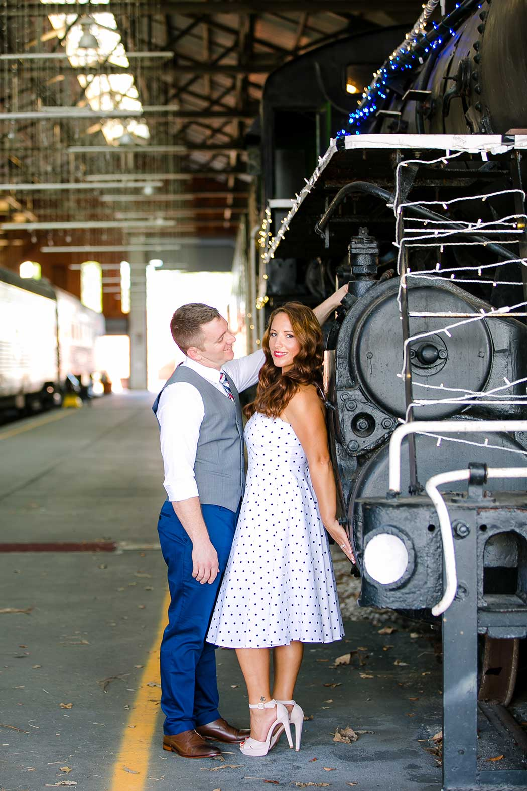 vintage inspired engagement photoshoot at railroad museum | gold coast railroad museum  vintage engagement session