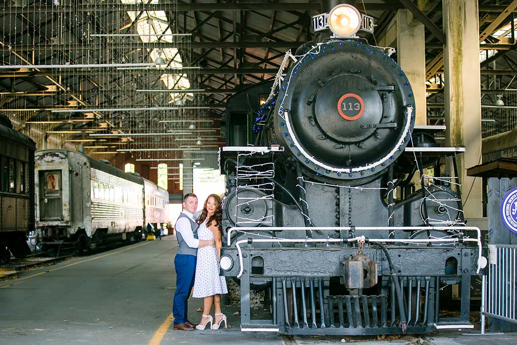 vintage inspired engagement photoshoot | engagement photography session at railroad station
