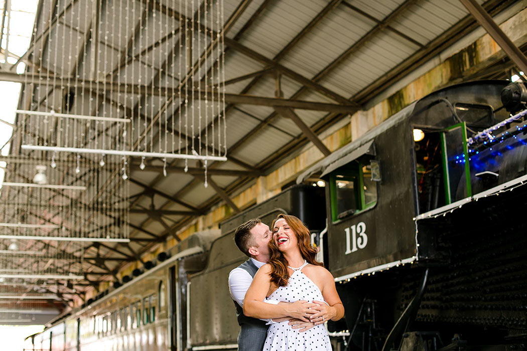 gold coast railroad museum engagement photoshoot | vintage engagement photoshoot