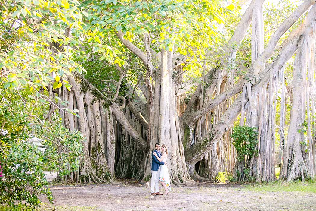 unique photograph of engaged couple standing in front of large hammock tree | park engagement photoshoot fort lauderdale