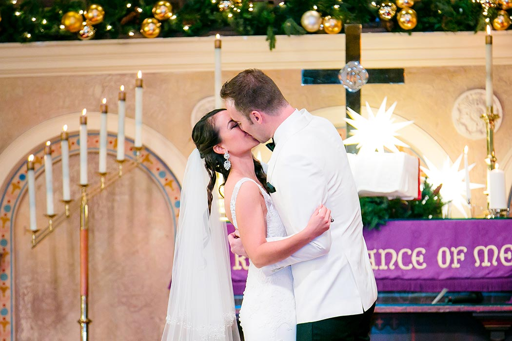 bride and groom first kiss at historic church wedding miami | photographer in fort lauderdale