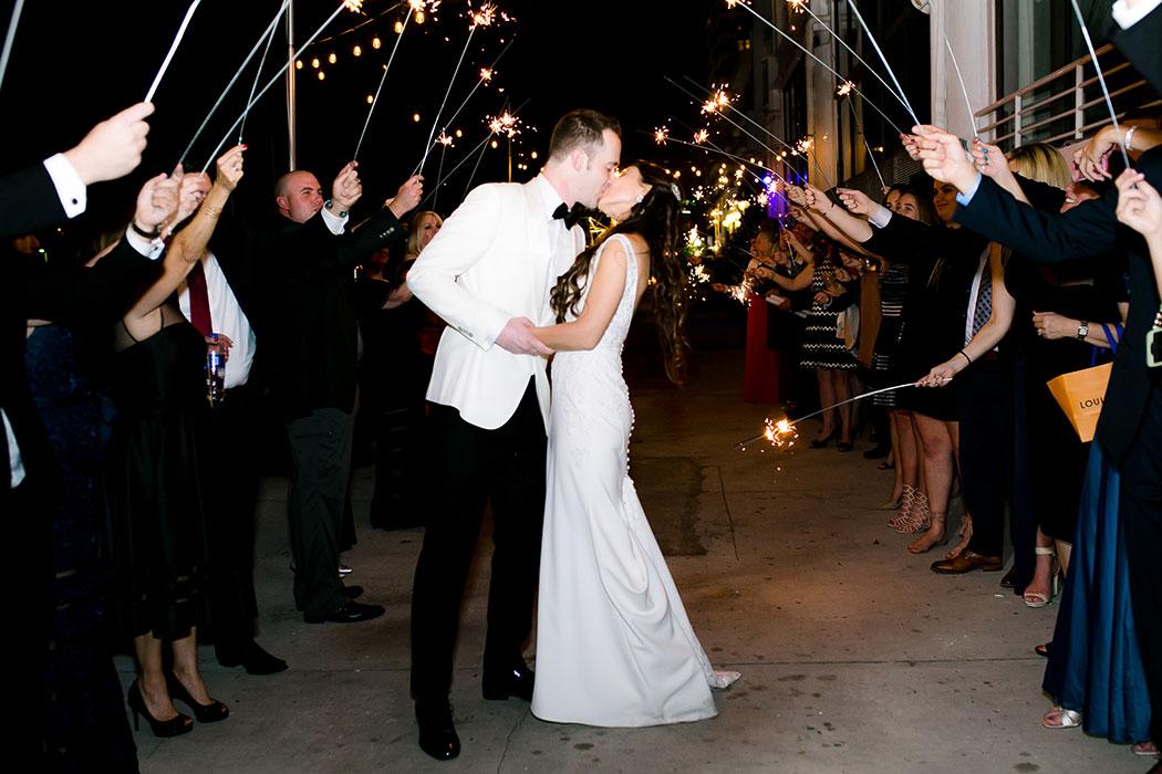 wedding sparkler exit with bride and groom | wedding sparklers photograph
