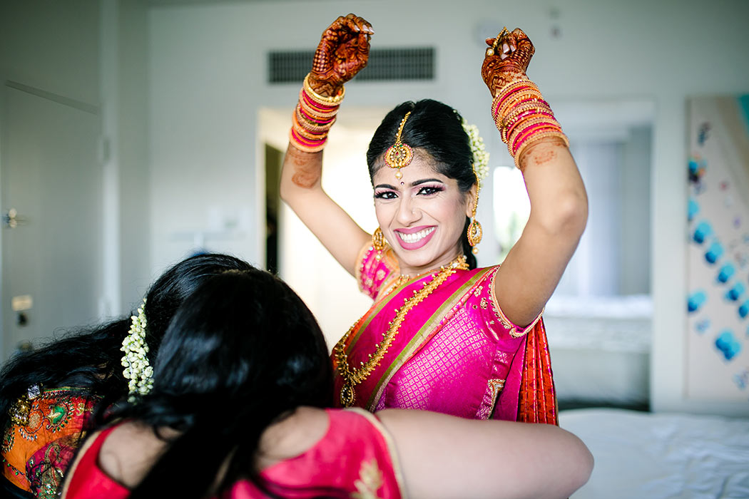 beautiful indian wedding at bahia mar fort lauderdale | elegant indian bridal photography | photograph of indian bride getting ready for wedding