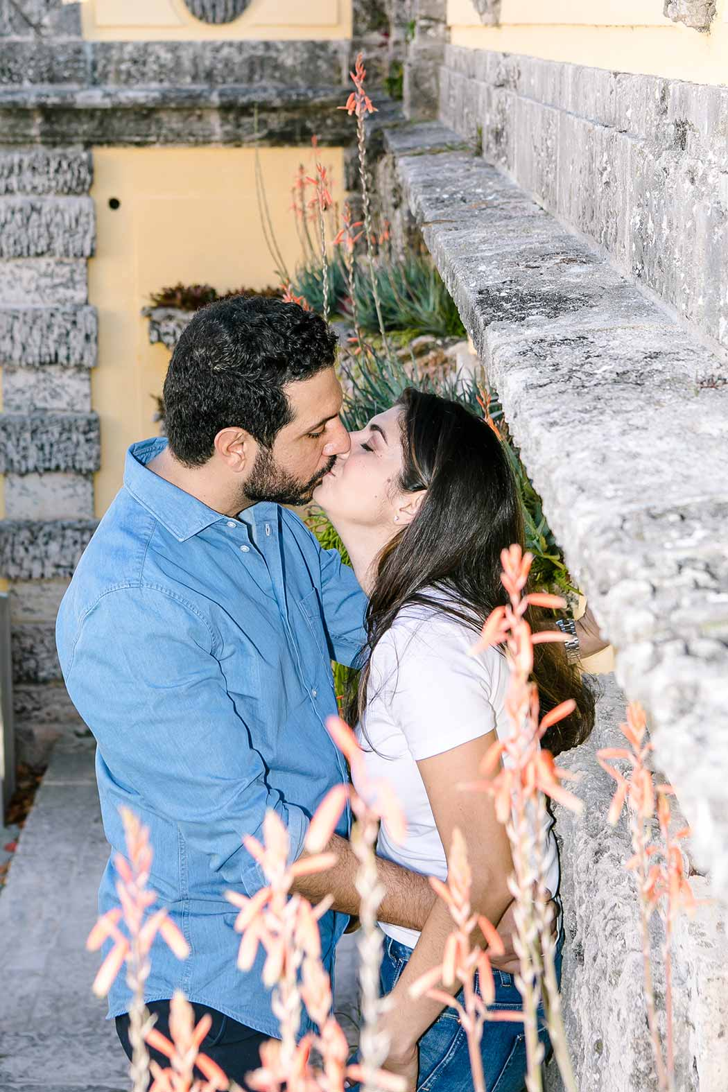 couple kissing at vizcaya museum and gardens miami | engagement photographer fort lauderdale