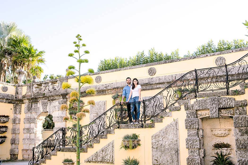 romantic couples engagement photography at vizcaya museum
