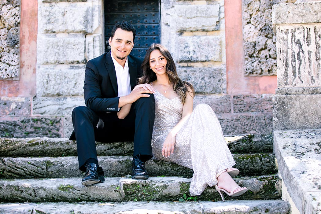 vizcaya engagement photography | long gold sequined dress for engagement session | vizcaya engagement pictures