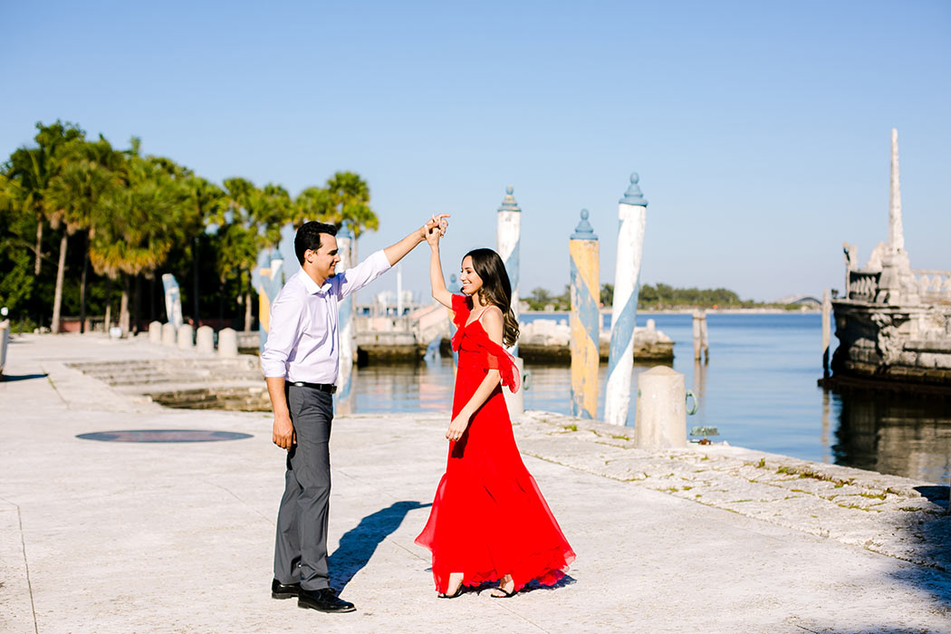 romantic couples photoshoot | long red dress for engagement photography