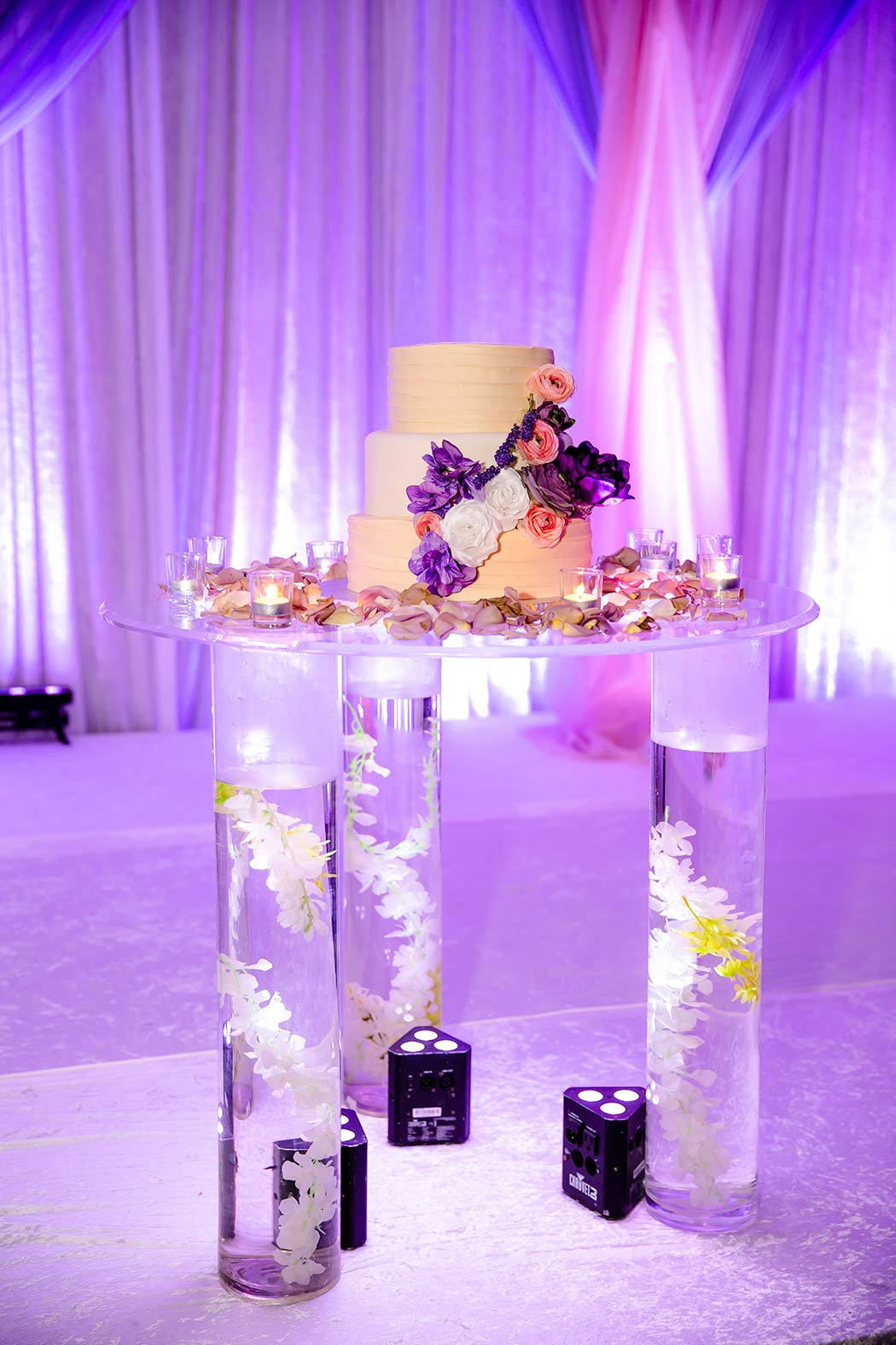 perspex stand for wedding cake | purple, pink an and white wedding cake pictures
