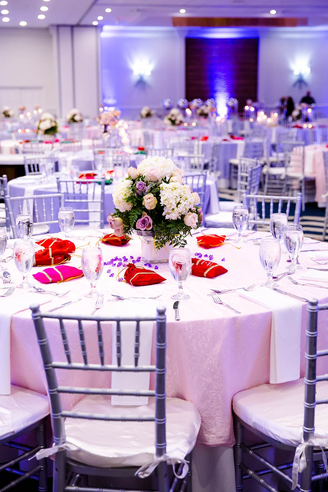 elegant wedding reception set up at bahia mar fort lauderdale