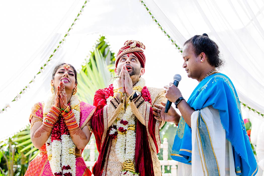 bride and groom pray during wedding | indian wedding photographer fort lauderdale south florida