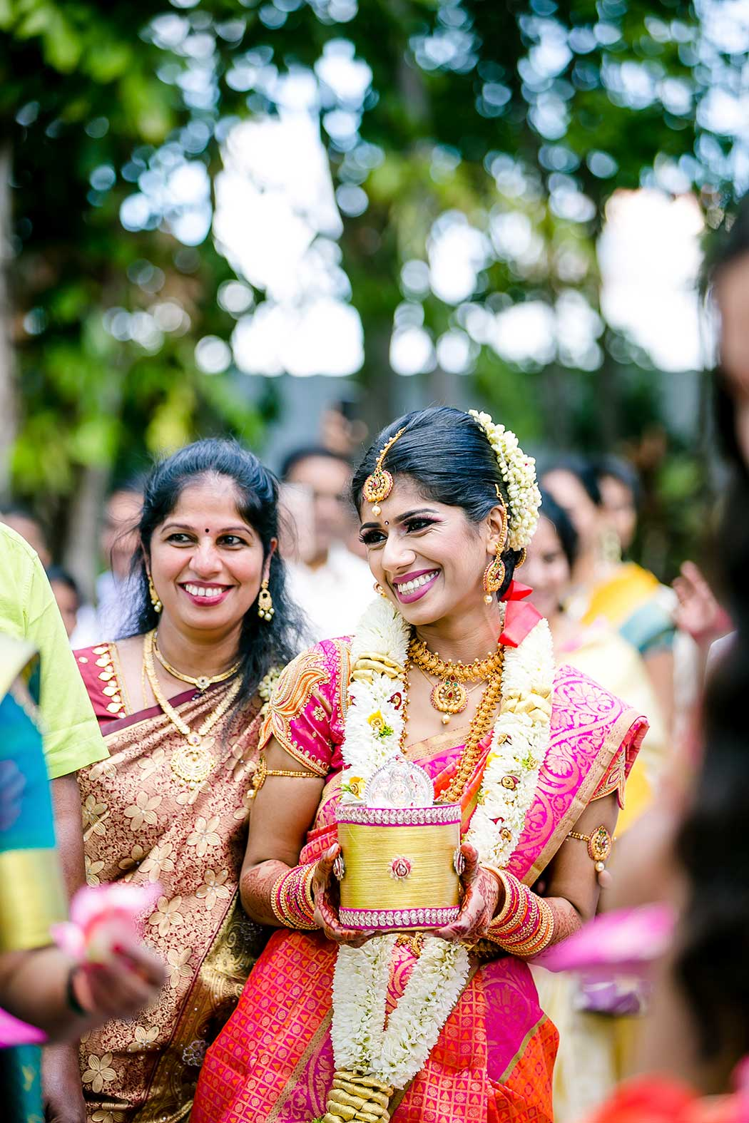 beautiful indian bride walks down aisle in fort lauderdale