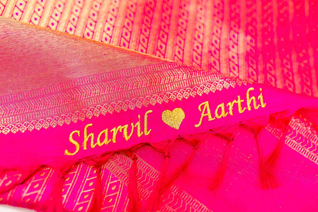 personalized names on indian wedding saree | personalized names with love heart for wedding