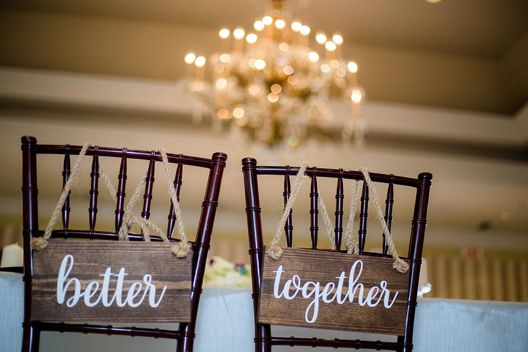 wedding reception detail photography | unique bride and groom chair signs