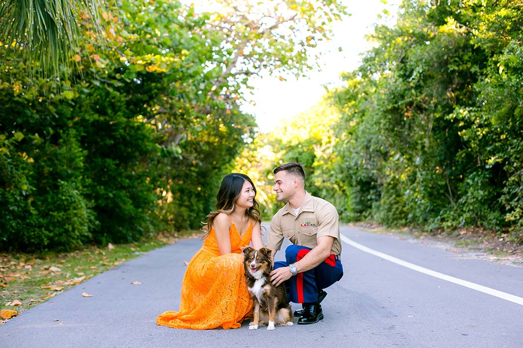 fort lauderdale engagement photoshoot hugh taylor birch park | military themed engagement photoshoot