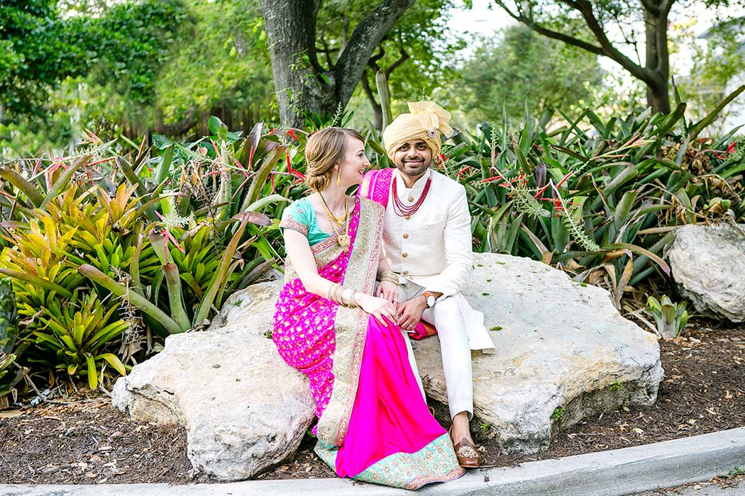 indian groom and bride sitting for photoshoot | indian bride and groom | wedding photographer fort lauderdale