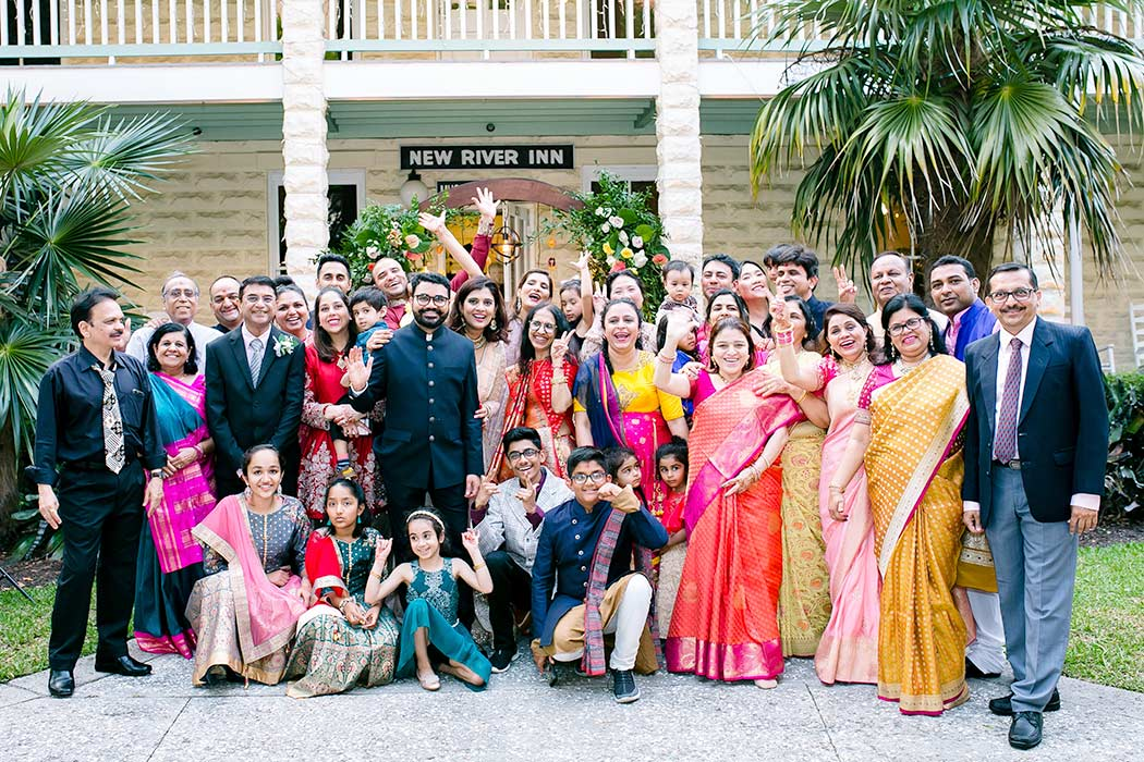 family photographs at modern indian wedding | modern indian wedding family photography at fort lauderdale historical society | indian wedding fort lauderdale historical society