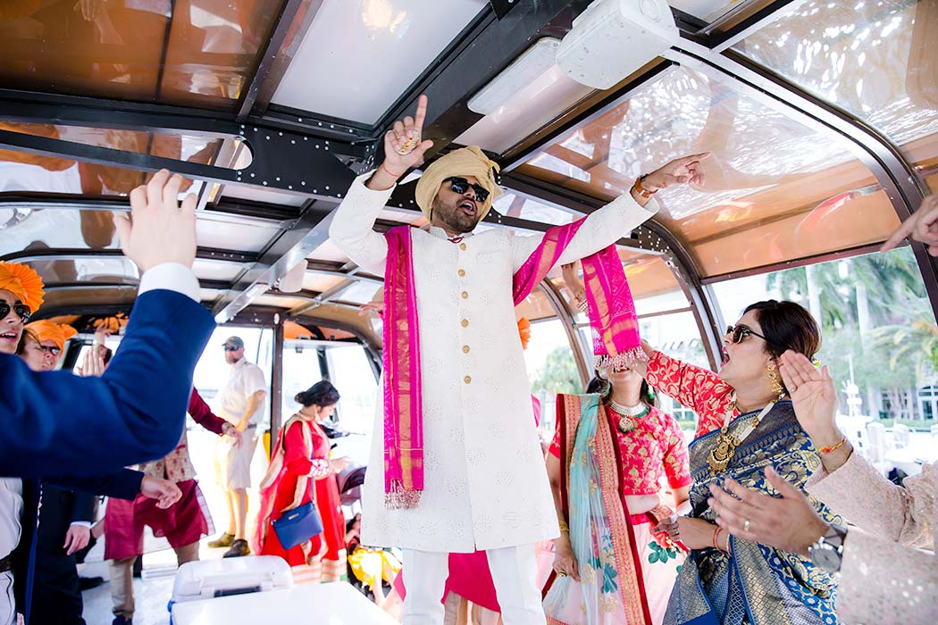 indian wedding baraat in fort lauderdale | indian wedding baraat fort lauderdale historical soc | indian baraat on board a boat in fort lauderdale | indian boat baraatiety