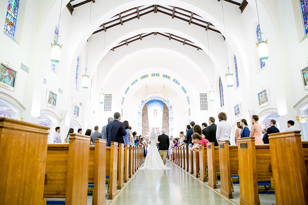 st anthonys church wedding fort lauderdale | bride walks down aisle photograph | photograph of bride walking down aisle