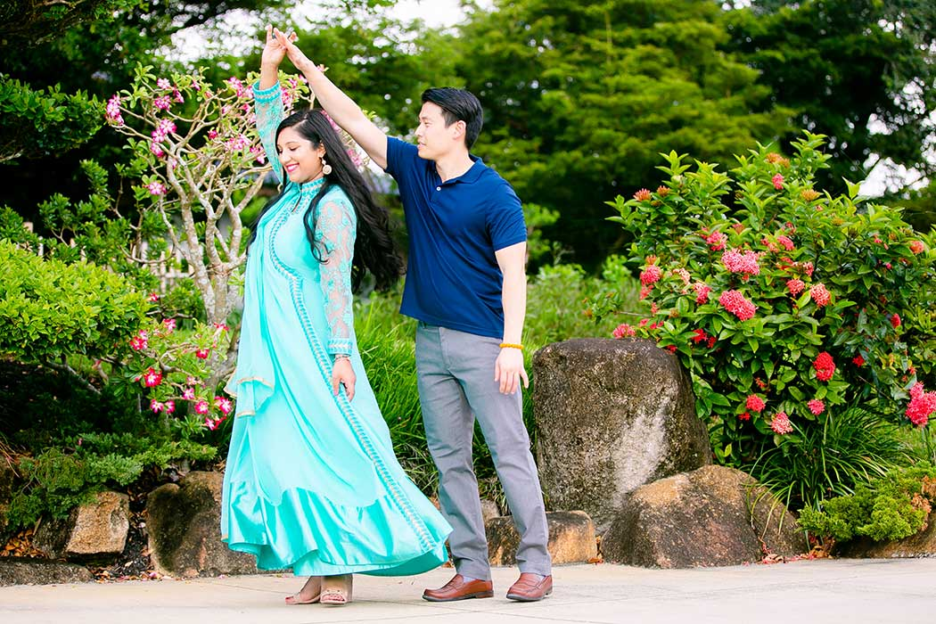 couple dancing during engagement photography at morikami