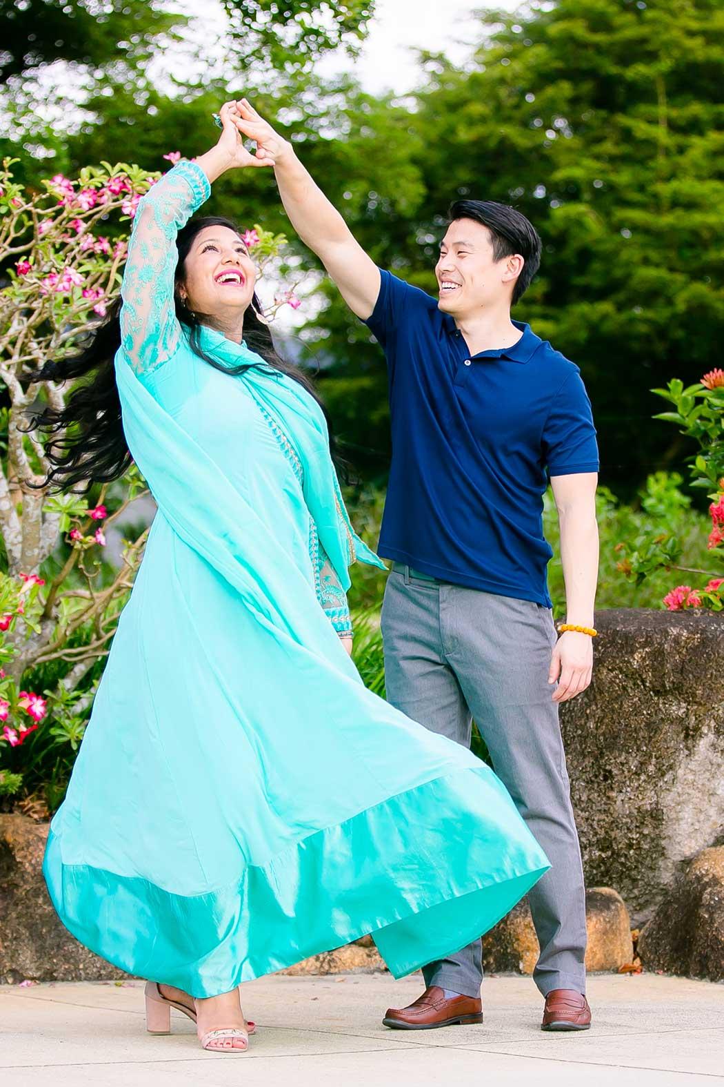 engagement photography at morikami | couple dancing during engagement photoshoot | dancing at morikami japanese gardens