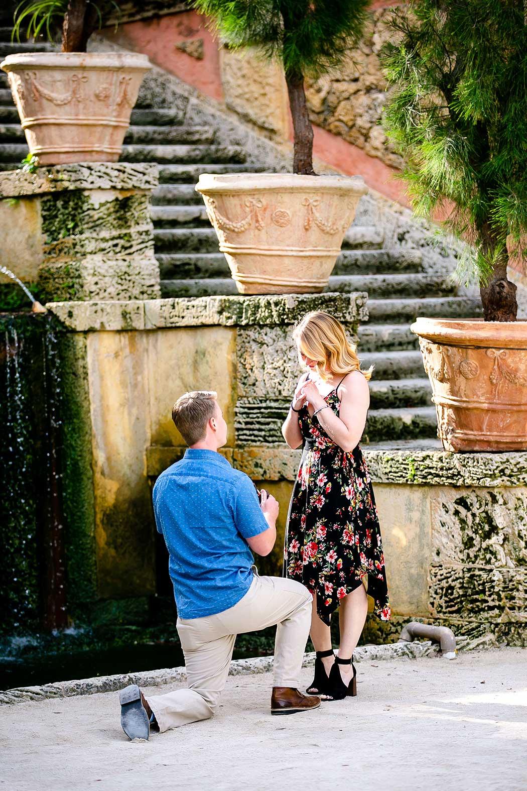 surprise wedding proposal photoshoot at Vizcaya Museum | engagement photoshoot vizcaya | surprise engagement photos at vizcaya