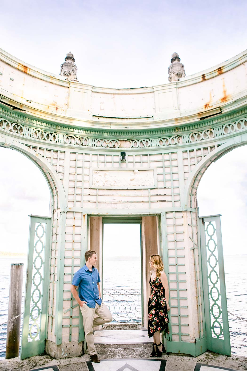 engagement photoshoot vizcaya miami | couple pose in tea house at vizcaya | vizcaya surprise wedding proposal photoshoot