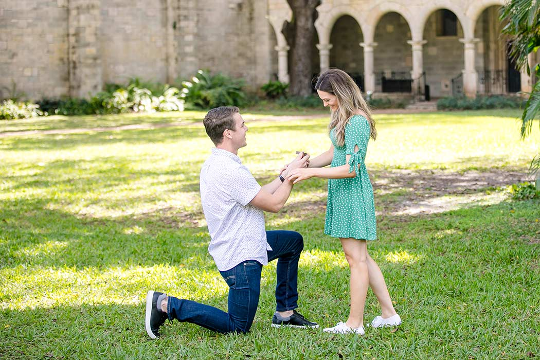 andrea harborne photography | ancient spanish monastery engagement photo | guy proposing to girlfriend at ancient spanish monastery | fort lauderdale engagement couples photographer