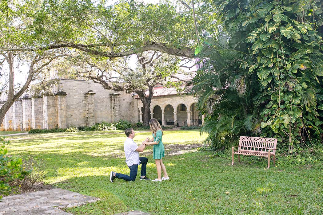 surprise marriage proposal at the ancient spanish monastery miami | surprise proposal | proposal photography fort lauderdale | engagement photos ancient spanish monastery