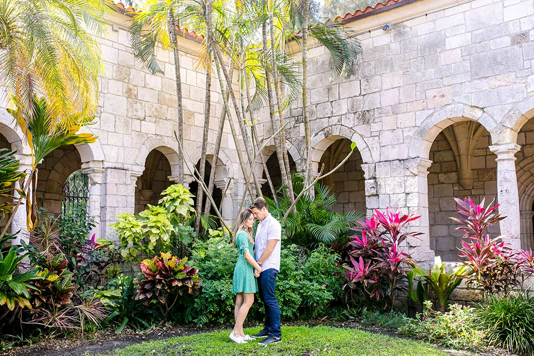 engagement photos in the garden of ancient spanish monastery | fort lauderdale couples photographer | proposal photos | romantic couple poses