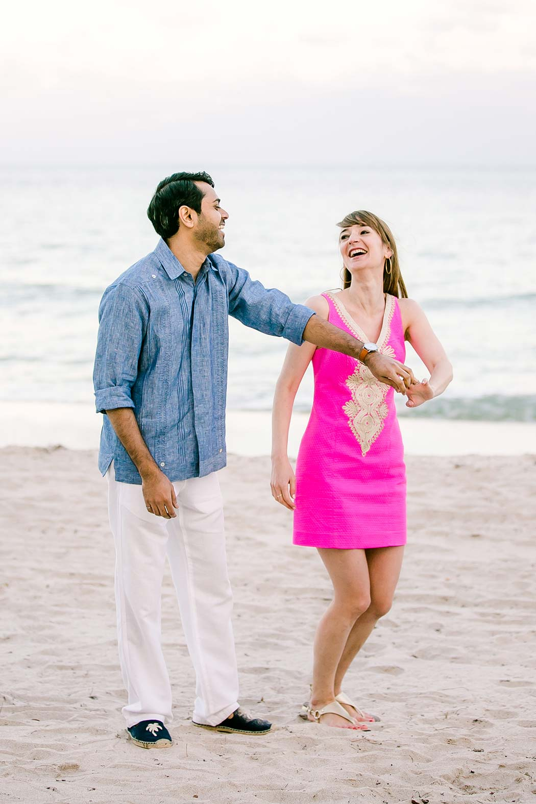 cute dancing couple on fort lauderdale beach | fort lauderdale beach engagement photography | indian couple beach engagement photoshoot fort lauderdale